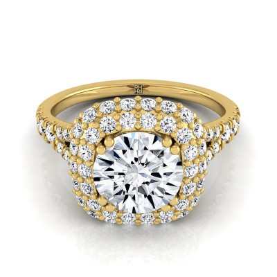 Diamond Double Halo  Engagement Ring With Diamond Pave Shank In 14k Yellow Gold (5/8 Ct.tw.)