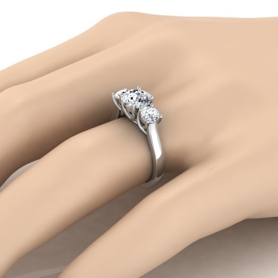 3 Stone Engagement Ring Shank In 14k White Gold (2/3 Ct.tw.)