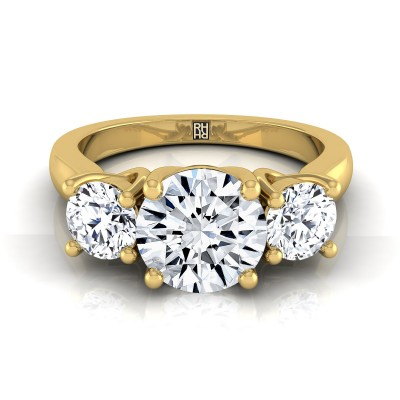 3 Stone Engagement Ring Shank In 14k Yellow Gold (2/3 Ct.tw.)