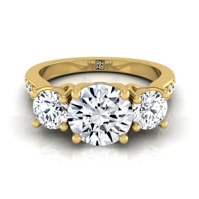 3 Stone Engagement Ring With Diamond Pave Shank In 14k Yellow Gold (7/8 Ct.tw.)