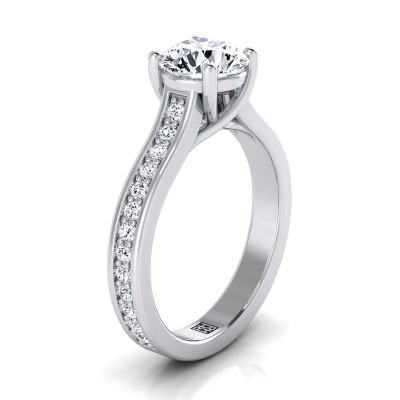 Diamond Solitaire Engagement Ring With Pave Shank In 14k White Gold (1/3 Ct.tw.)