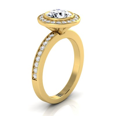 Diamond Halo Engagement Ring With Bezel Center In 14k Yellow Gold (3/8 Ct.tw.)