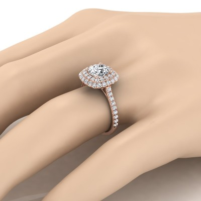 Diamond Double Halo  Engagement Ring With Diamond Pave Shank In 14k Rose Gold (3/4 Ct.tw.)