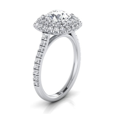 Diamond Double Halo  Engagement Ring With Diamond Pave Shank In 14k White Gold (3/4 Ct.tw.)