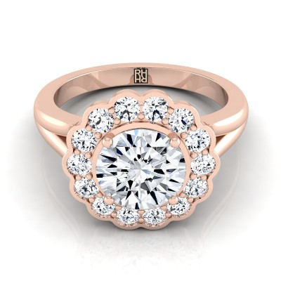 Diamond Halo Engagement Ring In 14k Rose Gold (3/8 Ct.tw.)