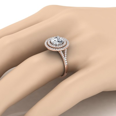 Diamond Double Halo  Engagement Ring With Diamond Pave Shank In 14k Rose Gold (1/2 Ct.tw.)