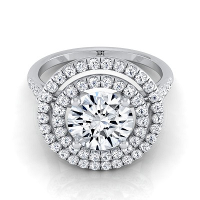 Diamond Double Halo  Engagement Ring With Diamond Pave Shank In 14k White Gold (1/2 Ct.tw.)