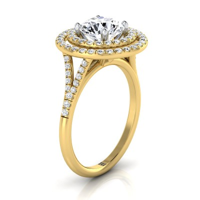 Diamond Double Halo  Engagement Ring With Diamond Pave Shank In 14k Yellow Gold (1/2 Ct.tw.)