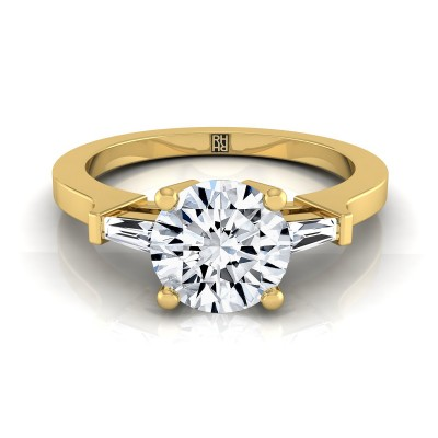 Diamond Engagement Ring  With Tapered Baguette Side Stones In 14k Yellow Gold (1/4 Ct.tw.)