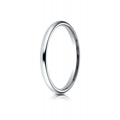 14k White Gold 2 Mm Slightly Domed Standard Comfort-fit Ring