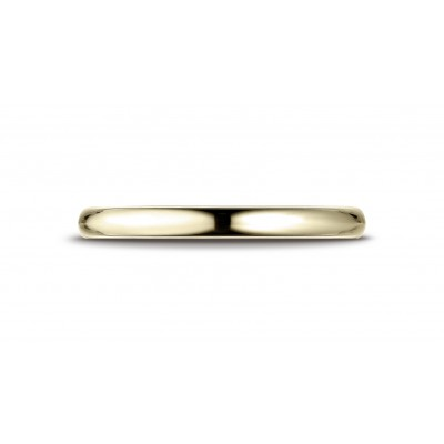 14k Yellow Gold 2.5 Mm Slightly Domed Standard Comfort-fit Ring