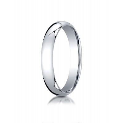 14k White Gold 4mm Slightly Domed Standard Comfort-fit Ring