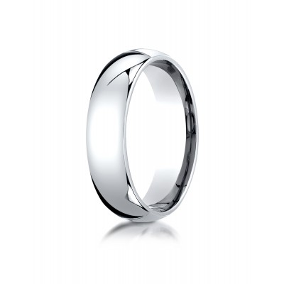 14k White Gold 6mm Slightly Domed Standard Comfort-fit Ring