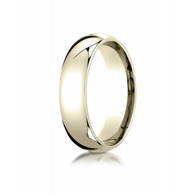 14k Yellow Gold 6mm Slightly Domed Standard Comfort-fit Ring