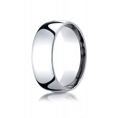 14k White Gold 8mm Slightly Domed Standard Comfort-fit Ring