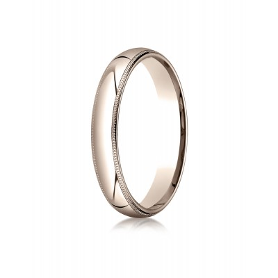 14k Rose Gold 4mm Slightly Domed Standard Comfort-fit Ring With Milgrain