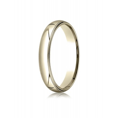 14k Yellow Gold 4mm Slightly Domed Standard Comfort-fit Ring With Milgrain