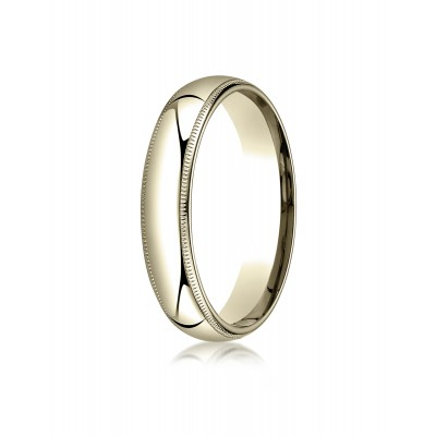14k Yellow Gold 5mm Slightly Domed Standard Comfort-fit Ring With Milgrain