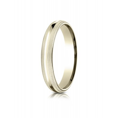 14k Yellow Gold 4mm Slightly Domed Standard Comfort-fit Ring With Double Milgrain