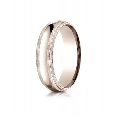 14k Rose Gold 6mm Slightly Domed Standard Comfort-fit Ring With Double Milgrain