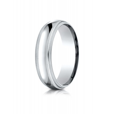 14k White Gold 6mm Slightly Domed Standard Comfort-fit Ring With Double Milgrain