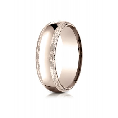 14k Rose Gold 7mm Slightly Domed Standard Comfort-fit Ring With Double Milgrain