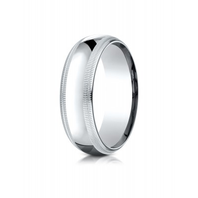 14k White Gold 7mm Slightly Domed Standard Comfort-fit Ring With Double Milgrain