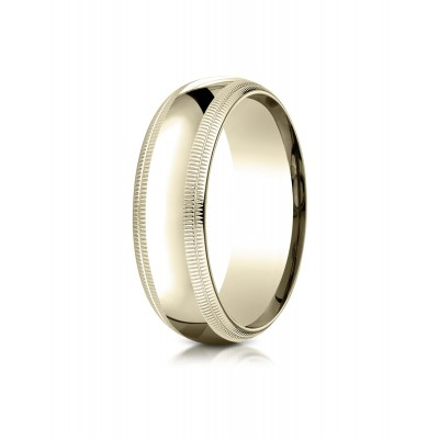 18k Yellow Gold 7mm Slightly Domed Standard Comfort-fit Ring With Double Milgrain