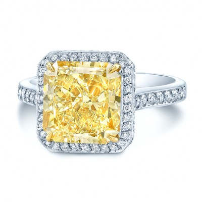 Prong Set Gia Certified Fancy Light Yellow Diamond Engagement Ring In Platinum