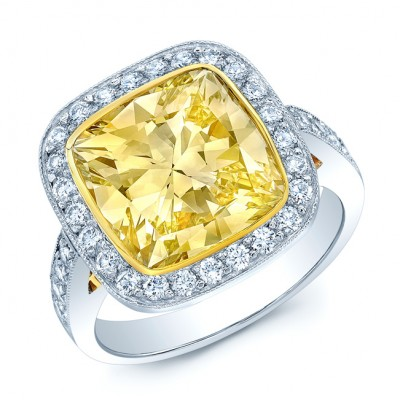Prong Set Fancy Very Light Yellow Diamond Engagement Ring In Platinum