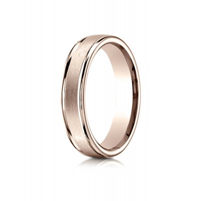14k Rose Gold 4mm Comfort-fit Satin-finished High Polished Round Edge Carved Design Band
