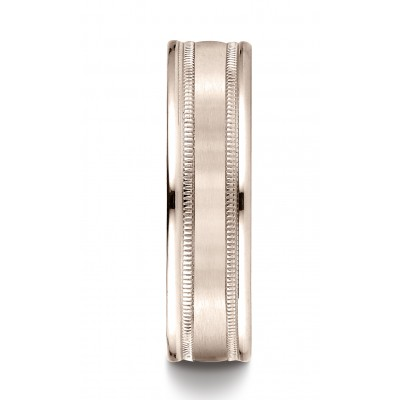 14k Rose Gold 6mm Comfort-fit Satin Finish Center With Milgrain Round Edge Carved Design Band