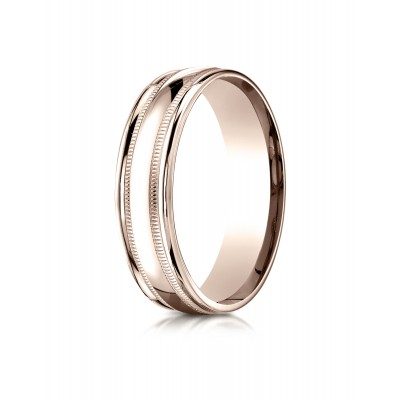 14k Rose Gold 6mm Comfort-fit High Polished With Milgrain Round Edge Carved Design Band