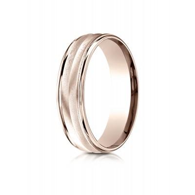 14k Rose Gold 6mm Comfort-fit Chevron Design High Polished Round Edge Carved Design Band