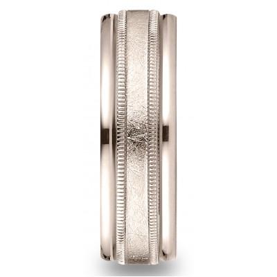 14k Rose Gold 7mm Comfort-fit Swirl Finish Center Milgrain Round Edge Carved Design Band