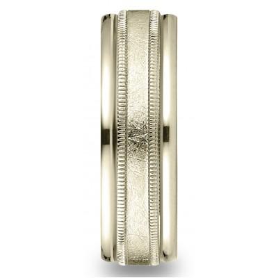 14k Yellow Gold 7mm Comfort-fit Swirl Finish Center Milgrain Round Edge Carved Design Band