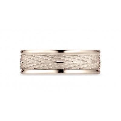 14 Karat Rose Gold 7mm Comfort-fit Round Edge Arrow Design Band