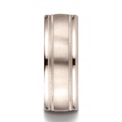 14k Rose Gold 8mm Comfort-fit Satin Finish Center With Milgrain Round Edge Carved Design Band