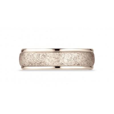 14 Karat Rose Gold 6.5mm Comfort-fit Round Edge Swirl Finish Design Band