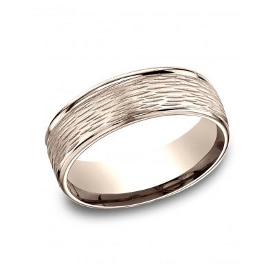 14 Karat Rose Gold 7.5mm Comfort-fit Round Edge Birch Bark Center