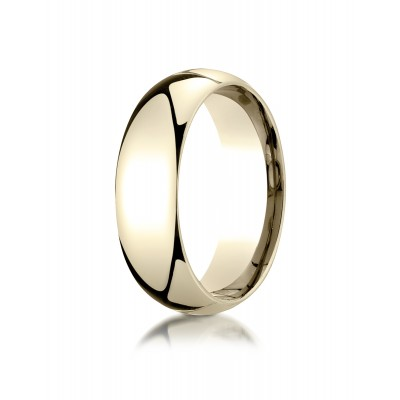 14k Yellow Gold 7mm Slightly Domed Super Light Comfort-fit Ring