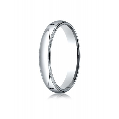 14k White Gold 4mm Slightly Domed Super Light Comfort-fit Ring With Milgrain