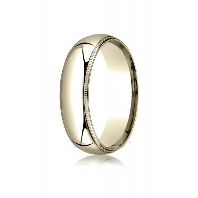 14k Yellow Gold 6mm Slightly Domed Super Light Comfort-fit Ring With Milgrain