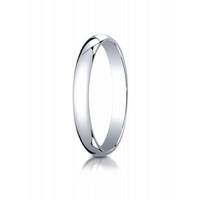 14k White Gold 3mm Slightly Domed Traditional Oval Ring
