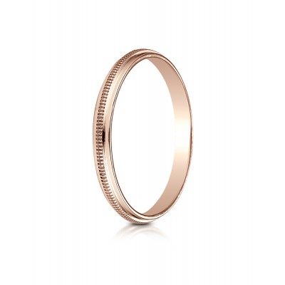 14k Rose Gold 2mm High Polished Milgrain Center Design Band