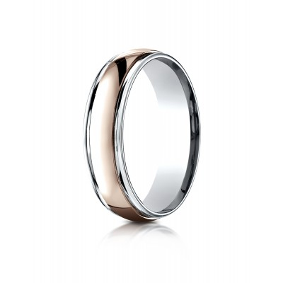 14k Two-toned 6mm Comfort-fit High Polished Carved Design Band