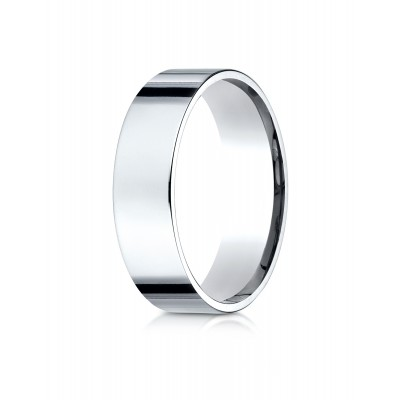 14k White Gold 6mm Flat Comfort-fit Ring