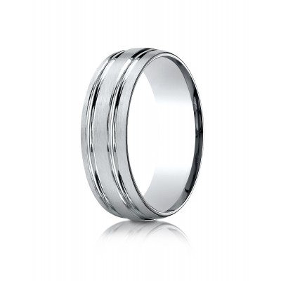 14k White Gold 7mm Comfort-fit Satin-finished With Parallel Grooves Carved Design Band
