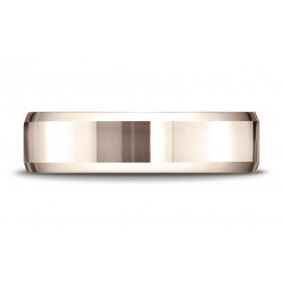 14k Rose Gold 6mm Comfort-fit High Polished Carved Design Band