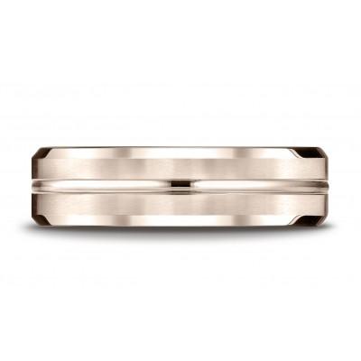 14k Rose Gold 6mm Comfort-fit Satin-finished With High Polished Cut Carved Design Band
